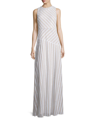 Gigi Striped Beaded Column Gown