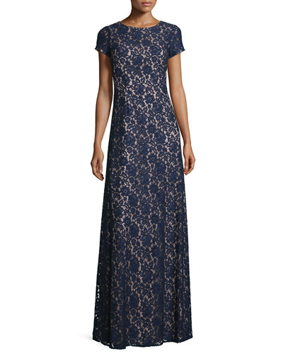 Donna Morgan Alice Cap-Sleeve A-Line Gown