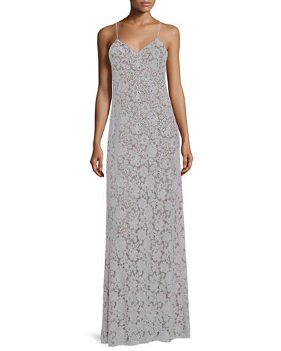 Gia Sleeveless V-Neck Lace Column Gown