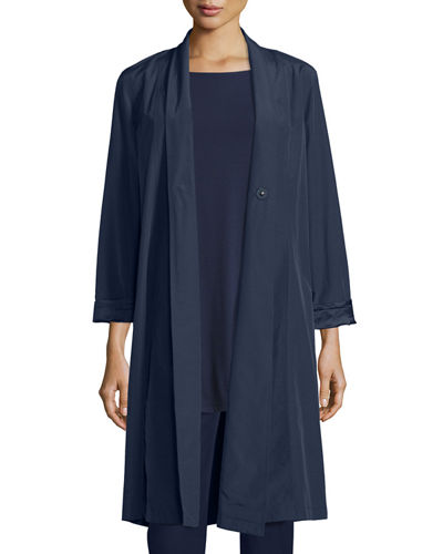 Organic-Cotton/Nylon A-line Knee-Length Jacket, Plus Size