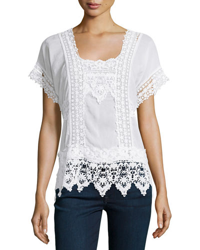 Short-Sleeve Lace-Inset Top, Petite