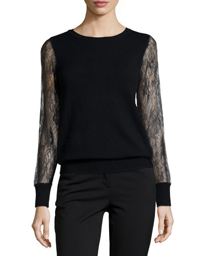 Cashmere Lace-Sleeve Sweater