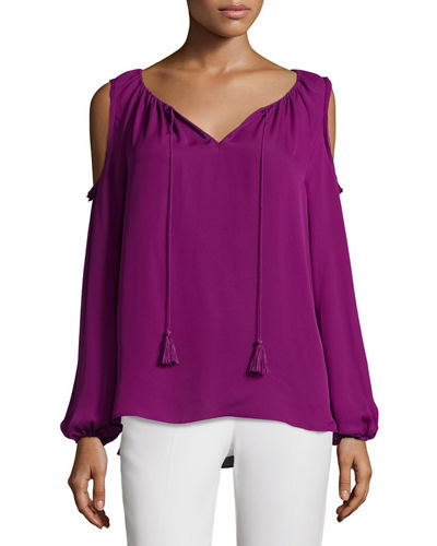 Cathy Cold-Shoulder Silk Blouse