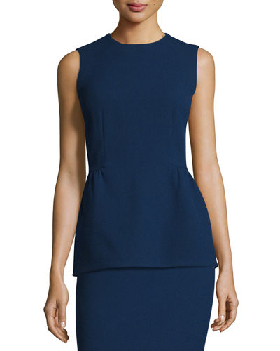 Meghan Sleeveless Wool Peplum Top