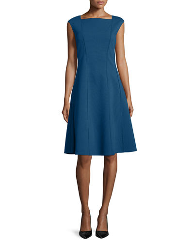 Seamed Bateau-Neck Cap-Sleeve Fit-&-Flare Dress