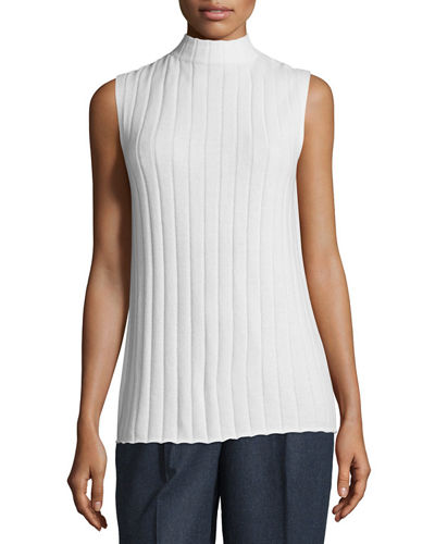 Sleeveless Mock-Neck Ribbed Cashmere Top