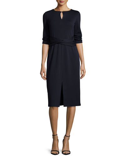 3/4-Sleeve Wool Dress w/ Faux-Wrap Waist