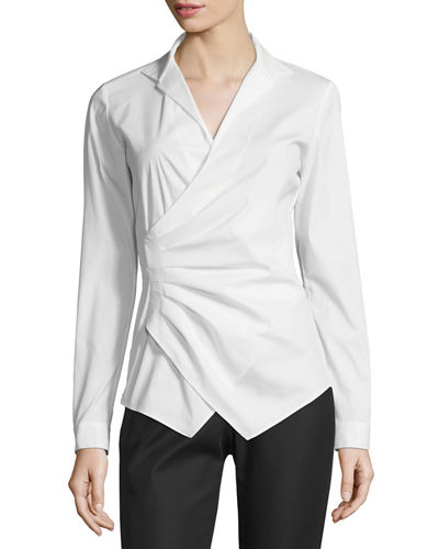 Odetta Long-Sleeve Surplice-Neck Blouse