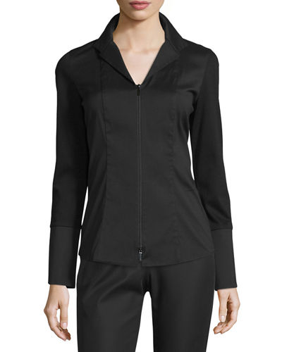 Aiden Jersey-Combo Long-Sleeve Zip-Front Blouse