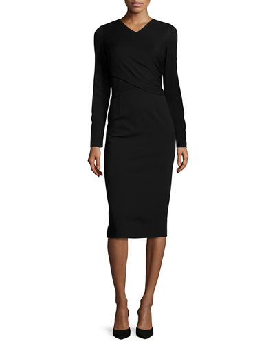 Long-Sleeve V-Neck Wrap Sheath Dress