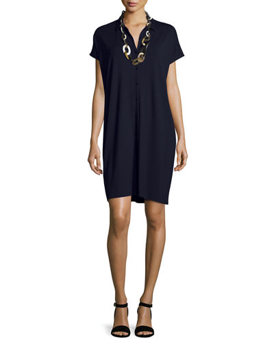 Short-Sleeve Button-Front Shirtdress, Plus Size