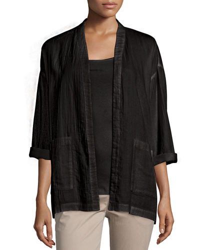 Organic Cotton Open-Front Boxy Jacket, Plus Size