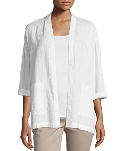 Organic Cotton Open-Front Boxy Jacket, Petite