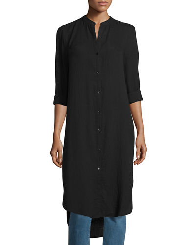 Mandarin-Collar Calf-Length Shirt, Black, Petite