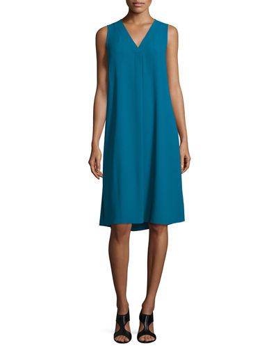 Sleeveless V-Neck Shift Dress, Petite
