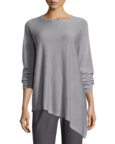 Merino-Knit Ballet-Neck Top, Pewter, Petite