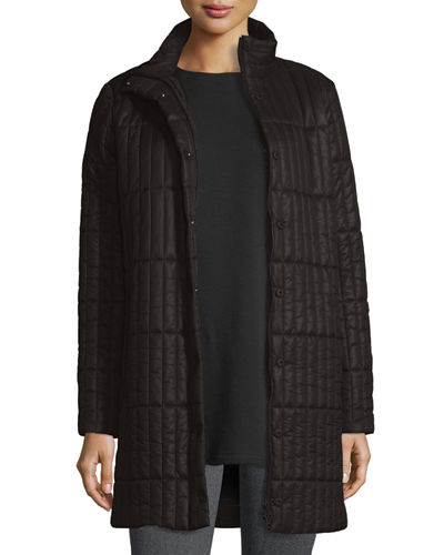 Quilted Nylon Knee-Length Coat, Plus Size
