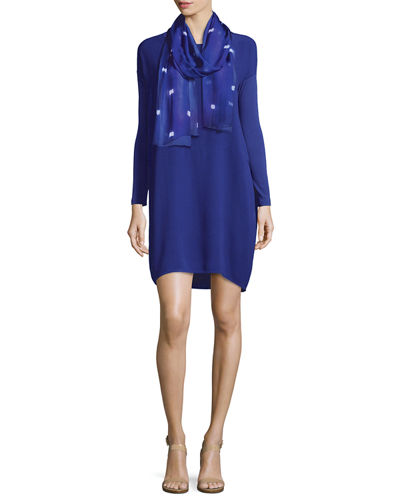 Long-Sleeve Silk Dress, Petite