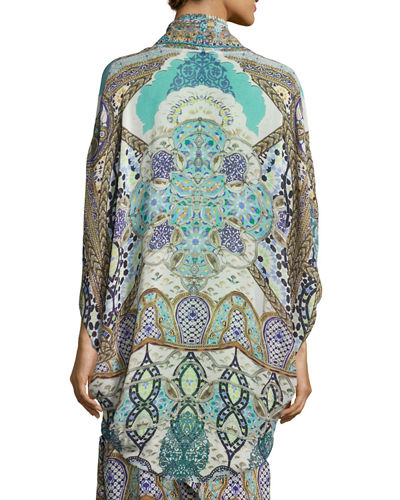 Open-Front Embellished Silk Cardigan/Cape Coverup