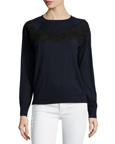 Crewneck Silk-Blend Sweater w/ Embellished Lace Trim