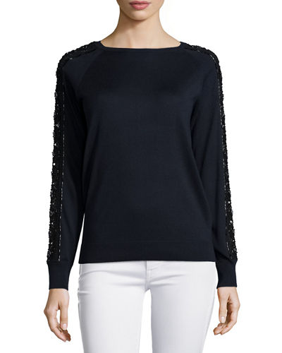 Long-Sleeve Embellished Lace Crewneck Sweater