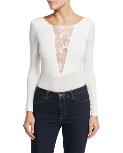 Nightcap Clothing Lace-Inset Long-Sleeve Bodysuit