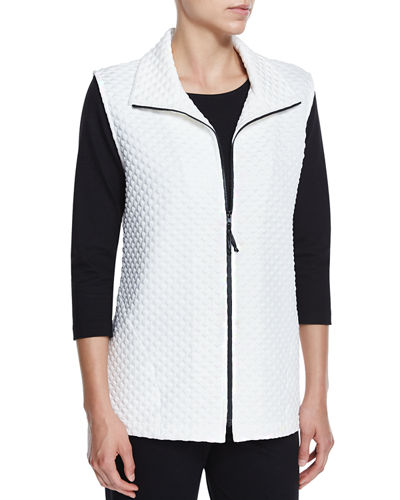 Diamond-Quilted Zip-Front Vest, White, Plus Size