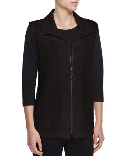 Diamond-Quilted Zip-Front Vest, White