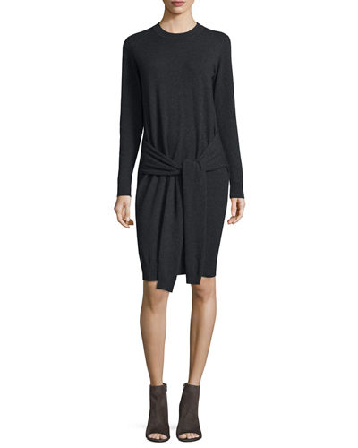 Autumn Cashmere Tie-Front Cashmere Sweaterdress
