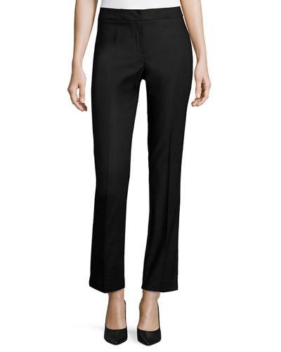 Perfect Front-Zip Straight-Leg Pants, Plus Size