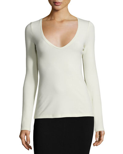 Jehane Stretch-Knit V-Neck Top