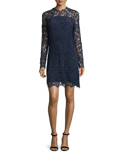 Elie Tahari Priscilla Long-Sleeve Lace Cocktail Dress