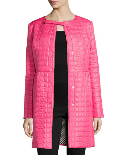 long quilted snap-front coat w/ bow detail