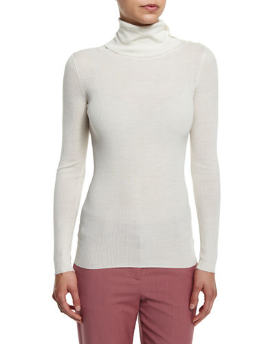 Theory Leendelly Refine Ribbed-Knit Turtleneck Sweater