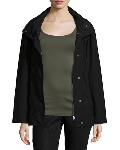 Hooded Zip-Front Jacket W/Stand Collar, Plus Size