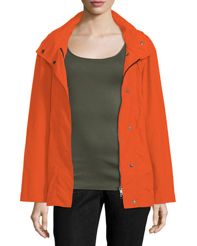 Snap-Front Hooded Jacket, Plus Size