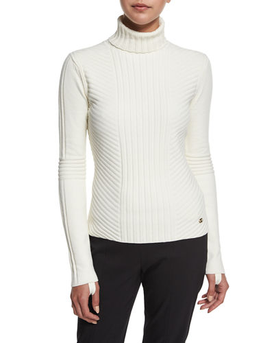 Inez Chevron-Ribbed Turtleneck Sweater