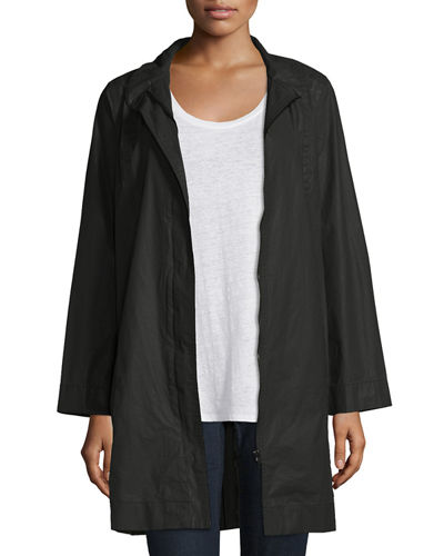 Coated Cotton Jacket W/Stand Collar
