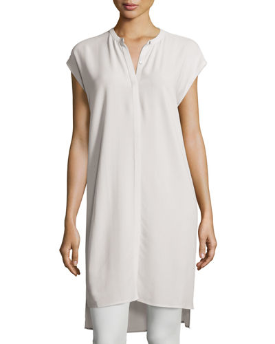 Eileen Fisher High-Low Silk Georgette Layering Dress, Petite