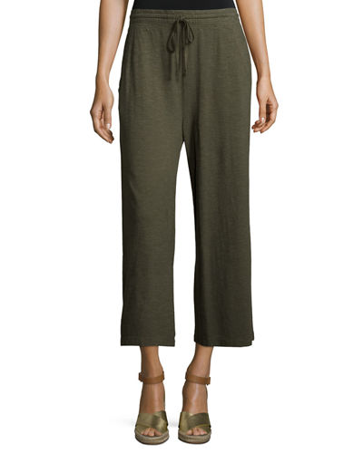 Hemp Twist Wide-Leg Cropped Pants