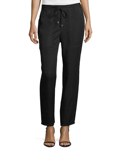 Drawstring Ankle Pants, Black, Petite