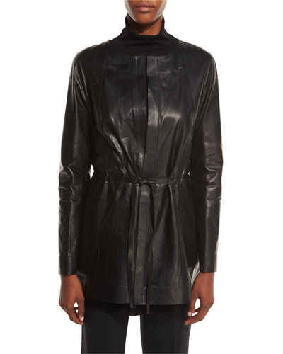 Carmondy Drawstring Leather Jacket