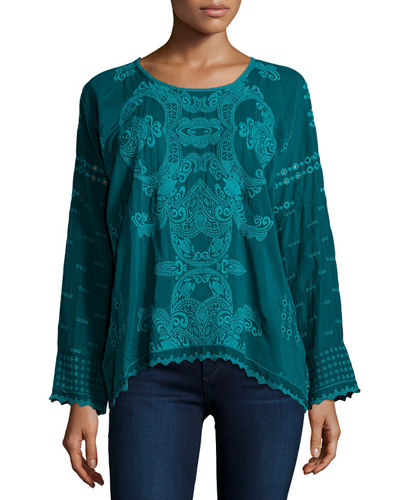 Alona Long-Sleeve Embroidered Georgette Top, Plus Size