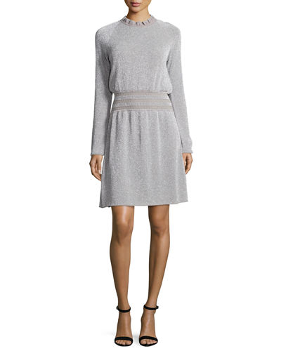 Isabelle Long-Sleeve Metallic Fit-&-Flare Dress