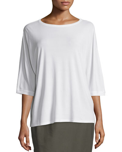 Silk Jersey Boat-Neck Top