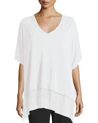 3/4-Sleeve Silk Jersey Easy Top, Petite