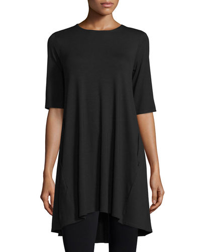 Round-Neck High-Low Tunic, Petite