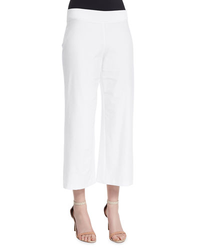 Washable Stretch Crepe Cropped Pants, Plus Size