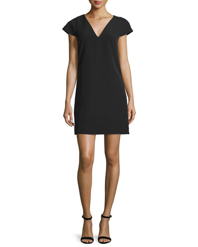 Milly Eva Cap-Sleeve Stretch Cady Dress