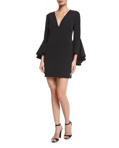Nicole Bell-Sleeve Cady Shift Dress